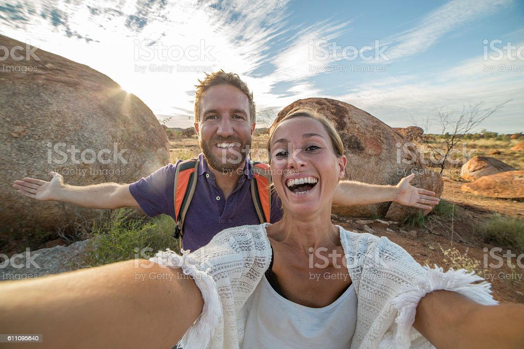 Personal perspective of young couple traveling stock photo