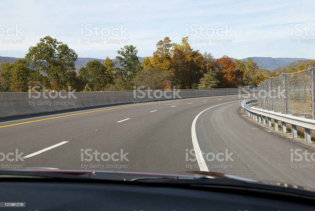 View through car windshield of interstate driving royalty-free stock photo