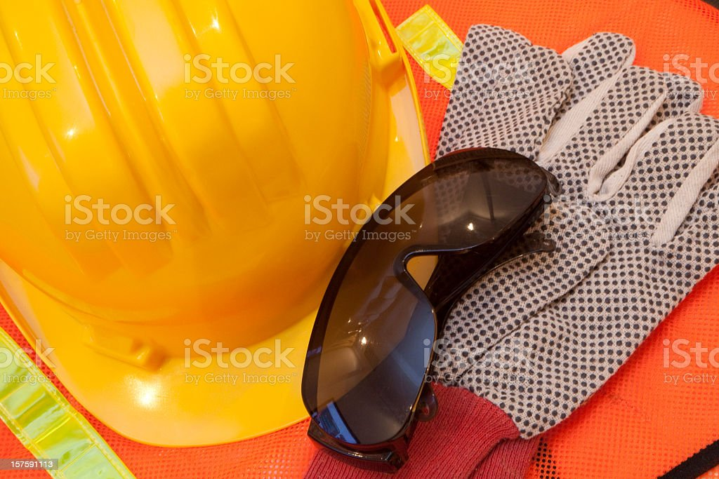 Personal protective equipment for a construction crew stock photo