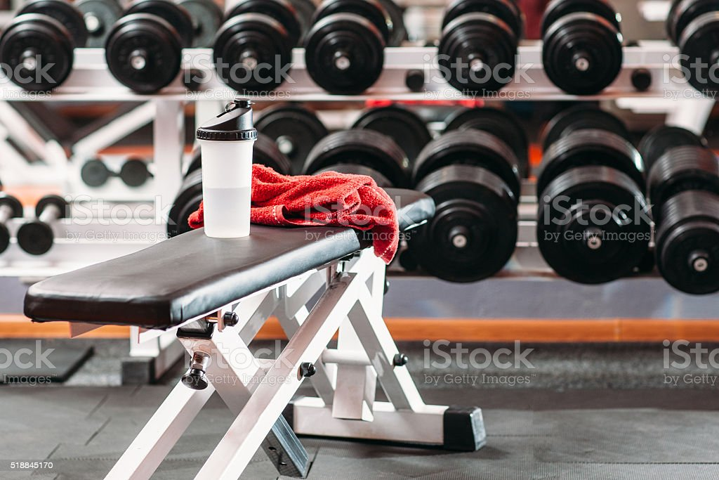 Personal sport stuff set  in fitness gym stock photo