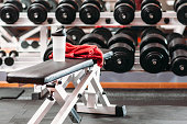 Personal sport stuff set  in fitness gym