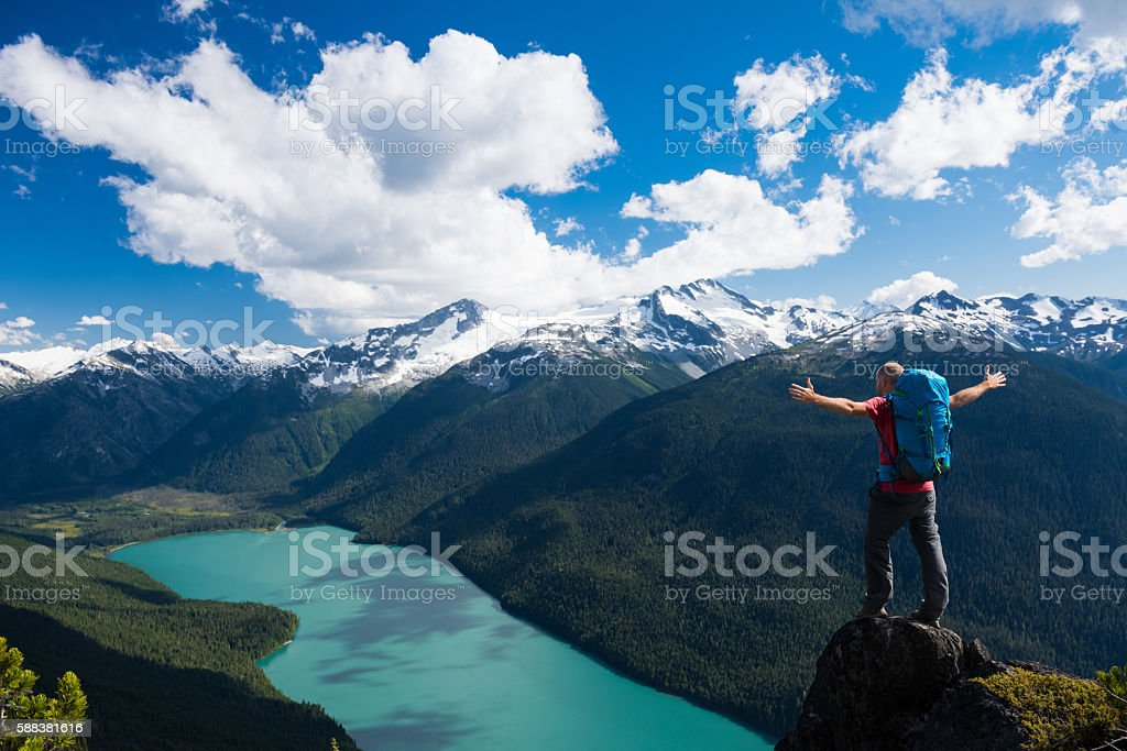 Personal success in the great outdoors stock photo