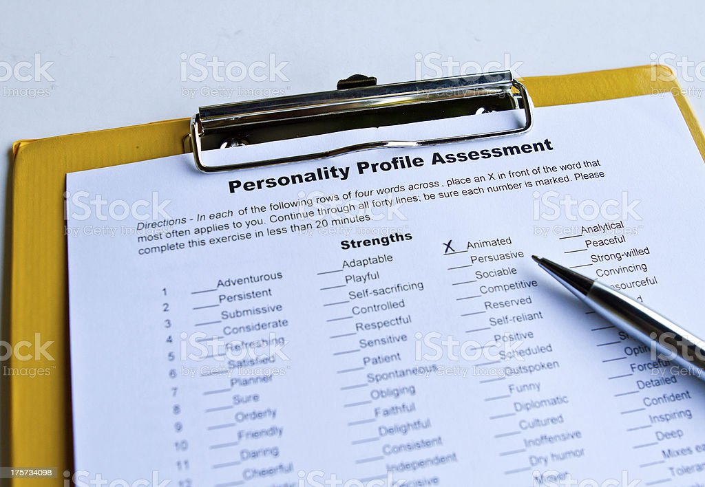 Personality Assessment Form stock photo