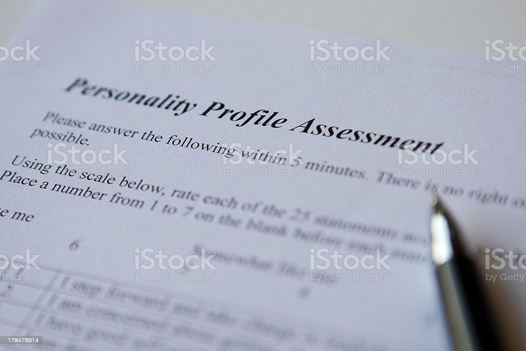 Personality Profile Assessment royalty-free stock photo