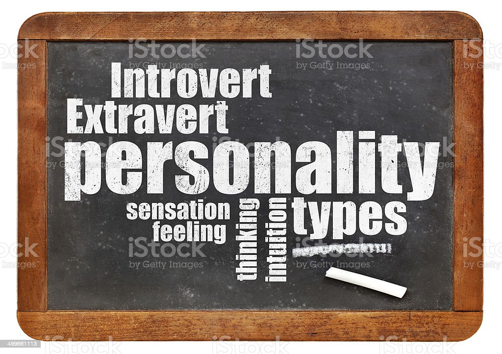 personality types on blackboard stock photo