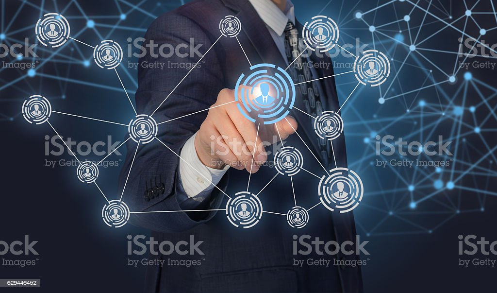 Personnel management in social networks. Concept of management innovation. stock photo
