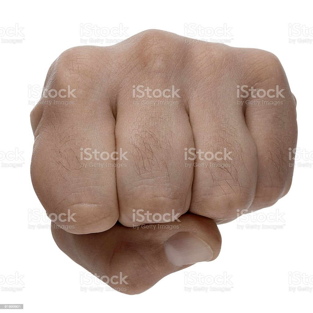 Persons fist on white background royalty-free stock photo