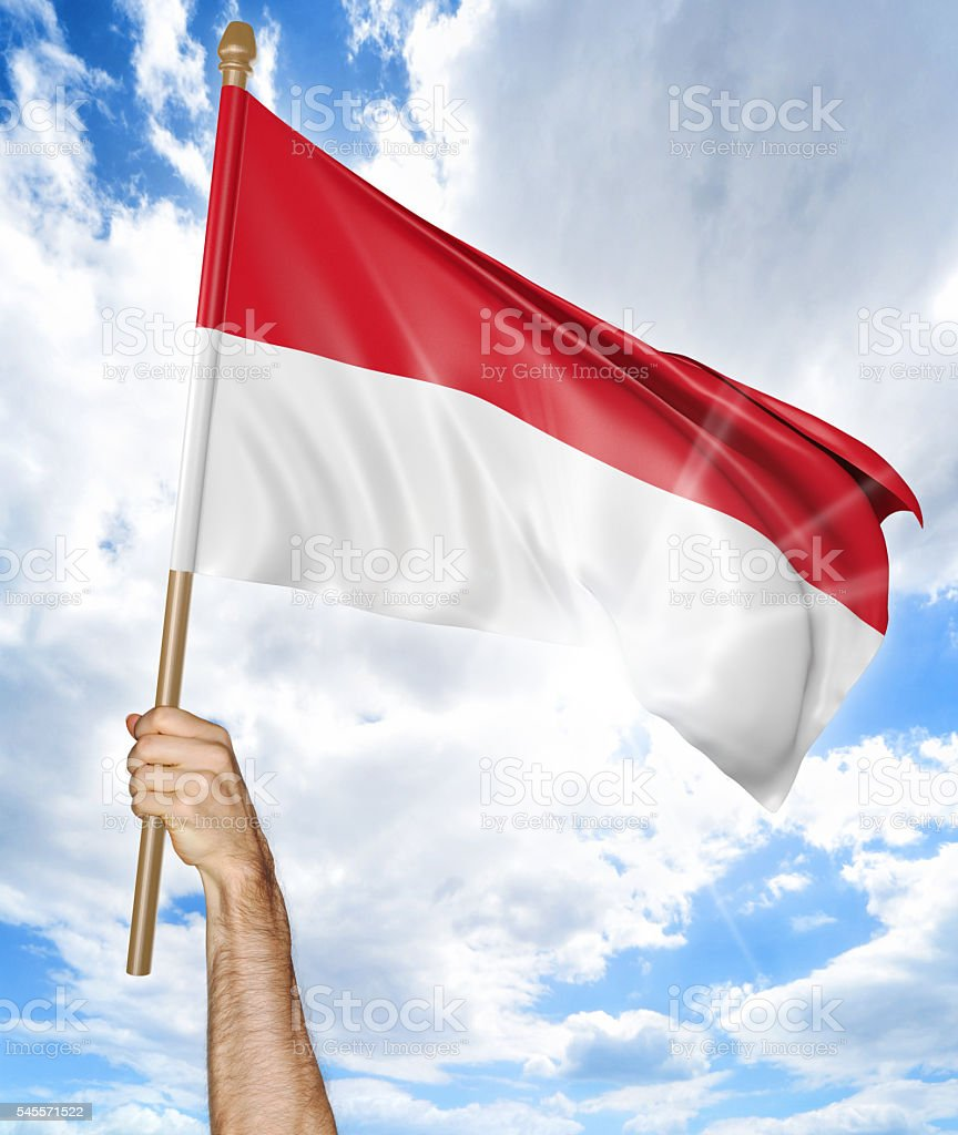 Person's hand holding the Indonesian national flag and waving it stock photo