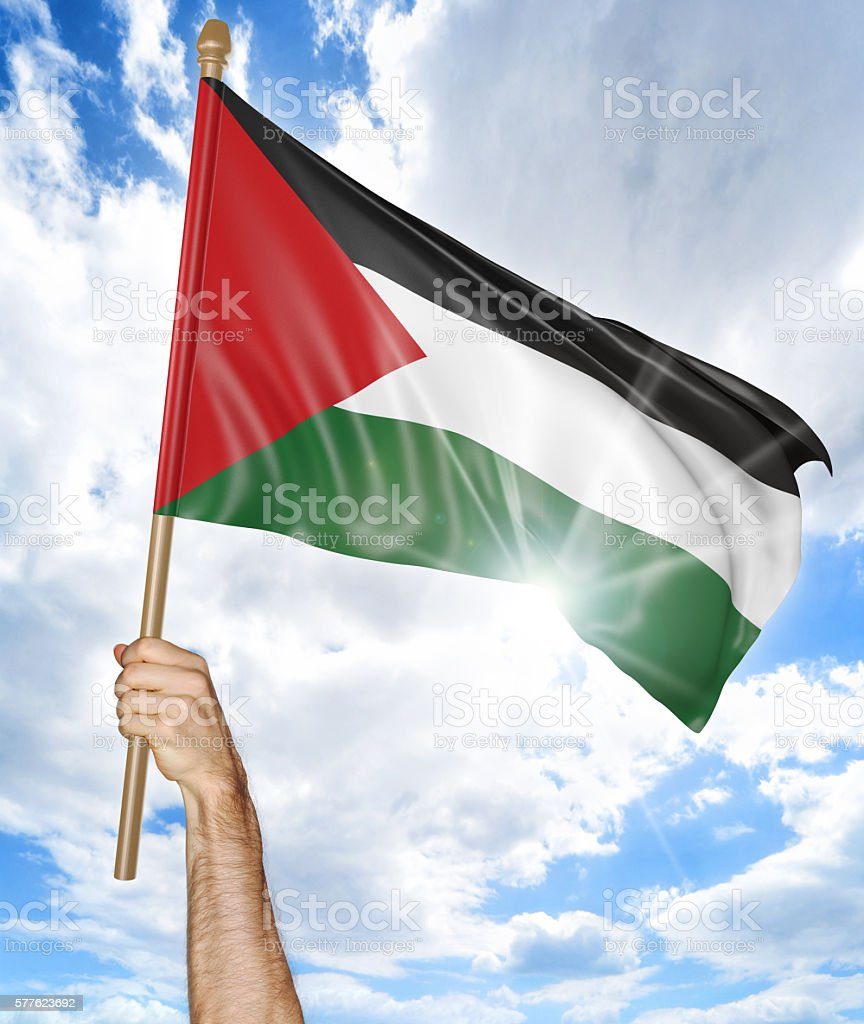 Person's hand holding the Palestinian national flag and waving it stock photo