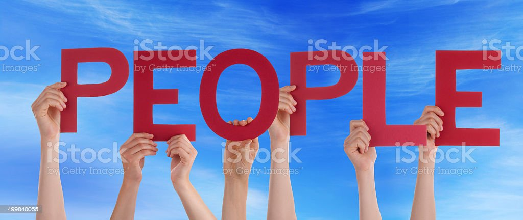 Persons Holding People in the Sky stock photo