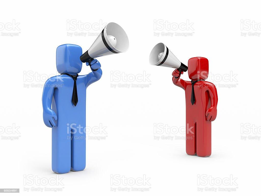 Persons speak in megaphone royalty-free stock photo