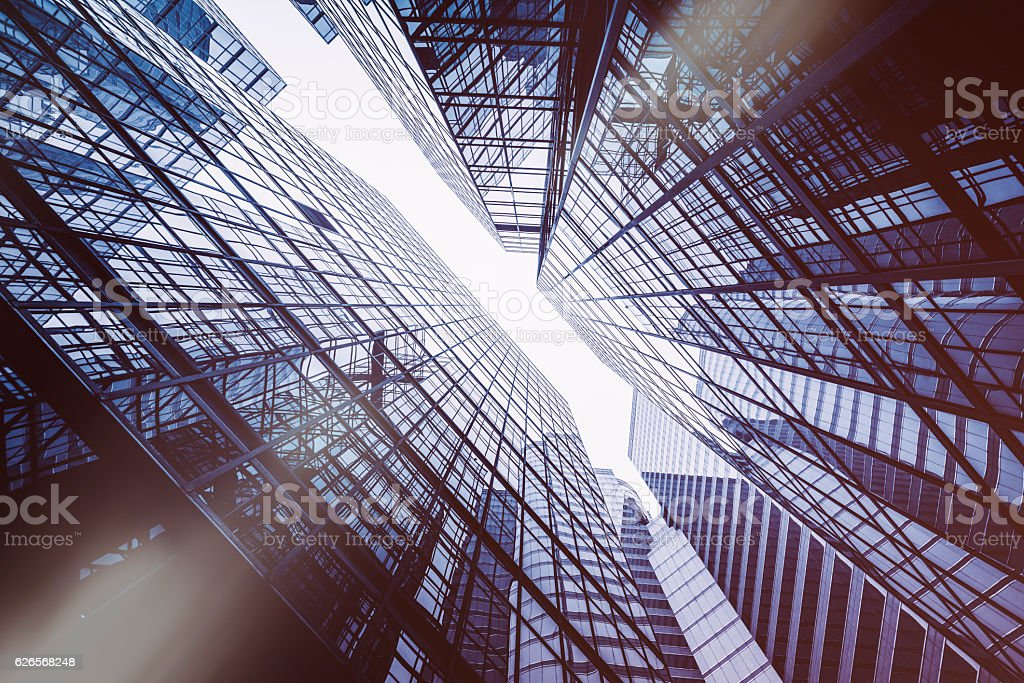 perspective and directly below view of modern highrise stock photo