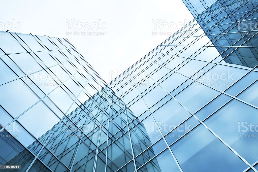 perspective angle of business skyscraper stock photo