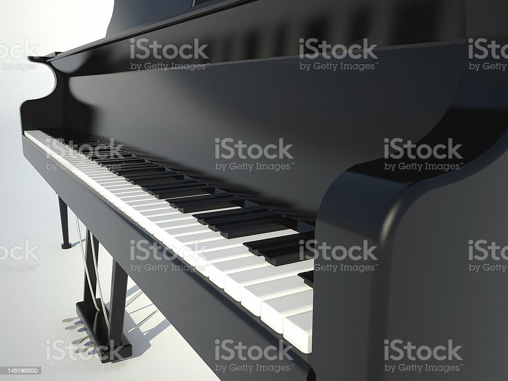 Perspective black piano royalty-free stock photo