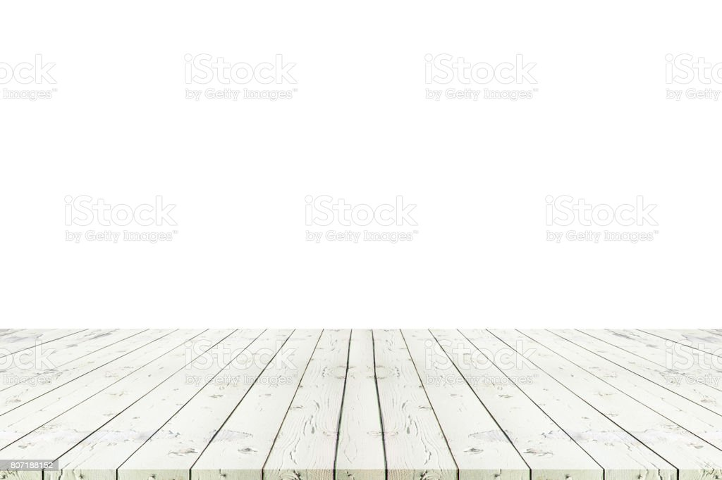 Perspective empty white wooden table with white background including clipping path for product display montage or design layout. stock photo