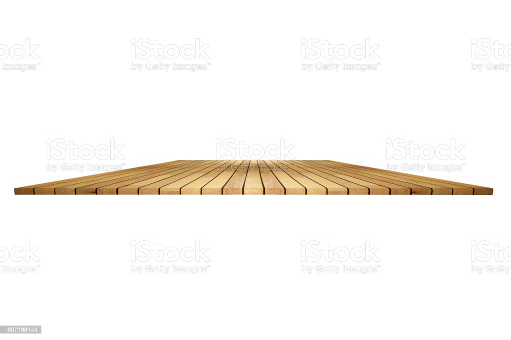 Perspective empty wooden table with white background including clipping path for product display montage or design layout. stock photo