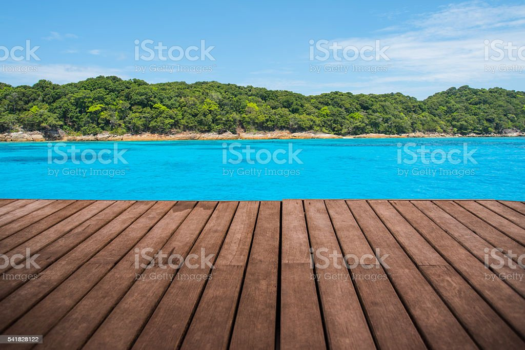 perspective empty wooden terrace with island background stock photo