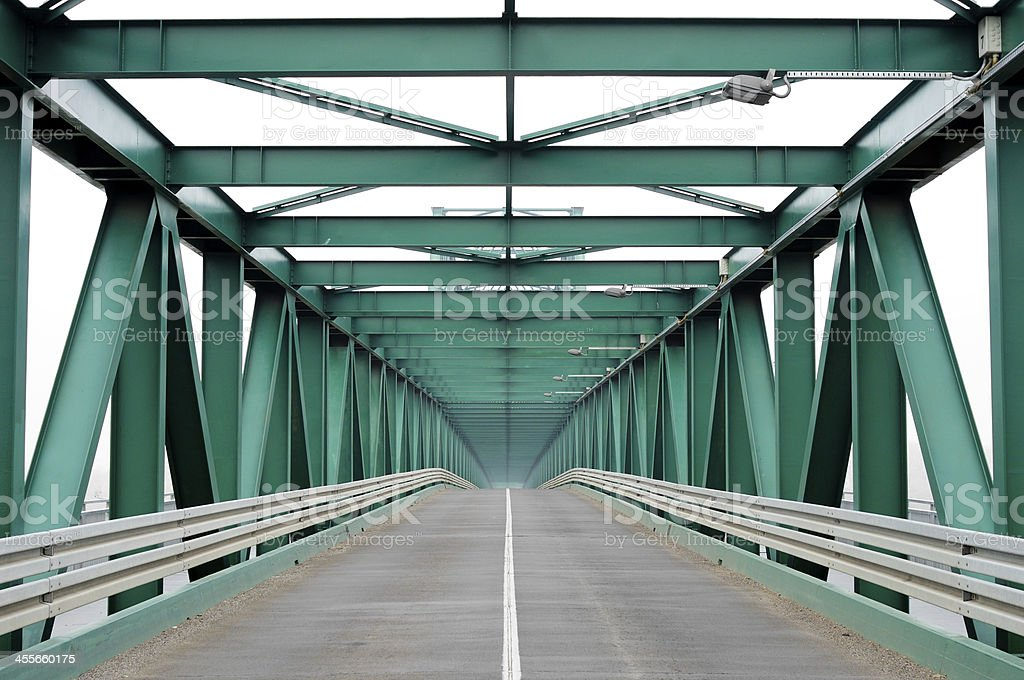 Perspective of a metal bridge stock photo