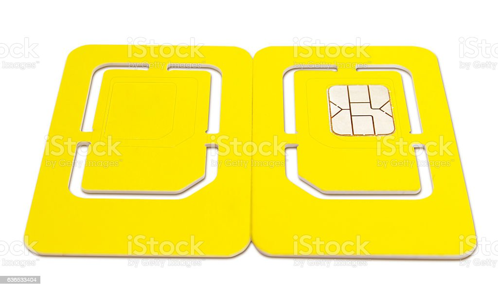 Perspective of Mobile Phone Sim Card stock photo