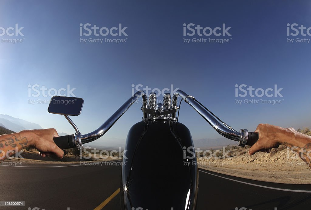 Perspective of Motorcycle Rider from the Seat stock photo