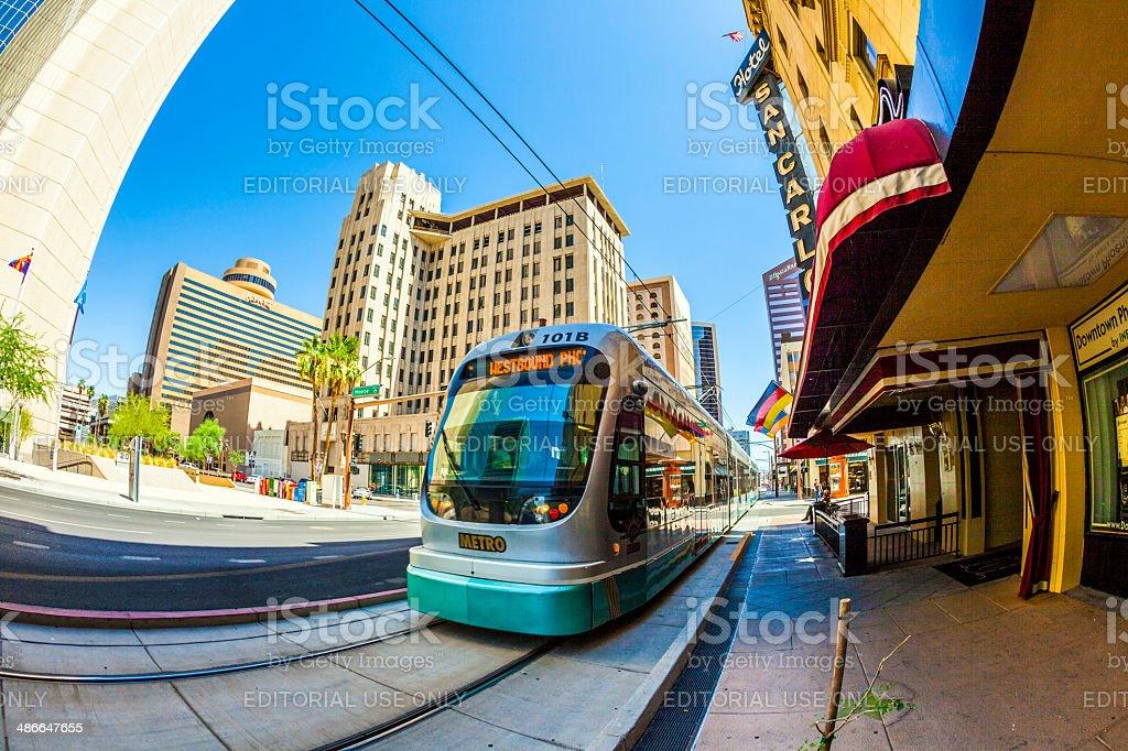 perspective of skyscrapers downtown Phoenix stock photo