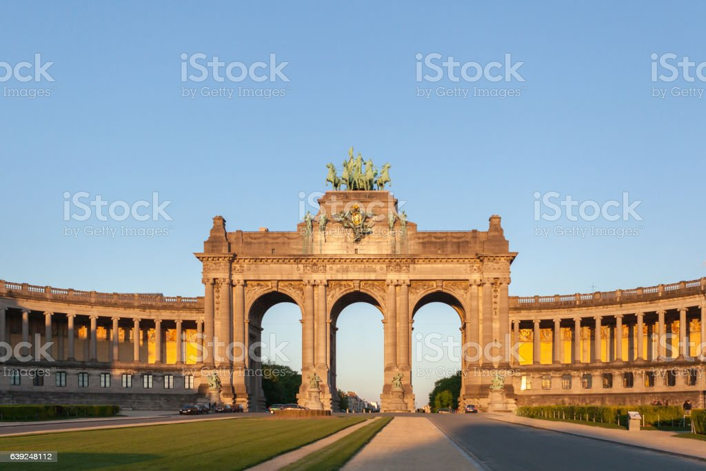 Perspective panoramic view to the Triumphal Arch stock photo