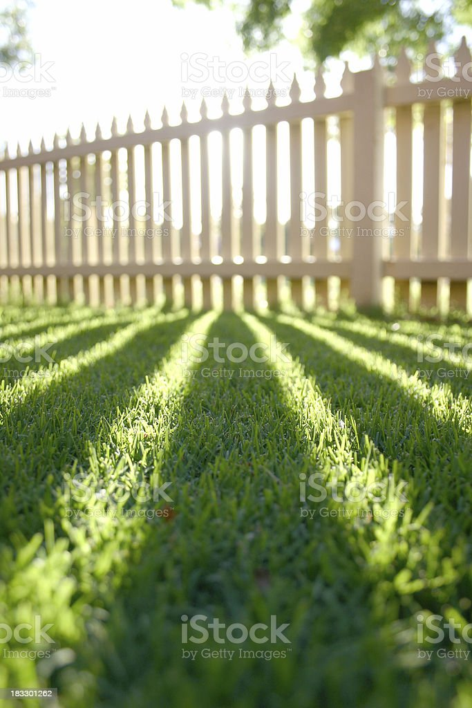 Perspective shadow picket fence stock photo