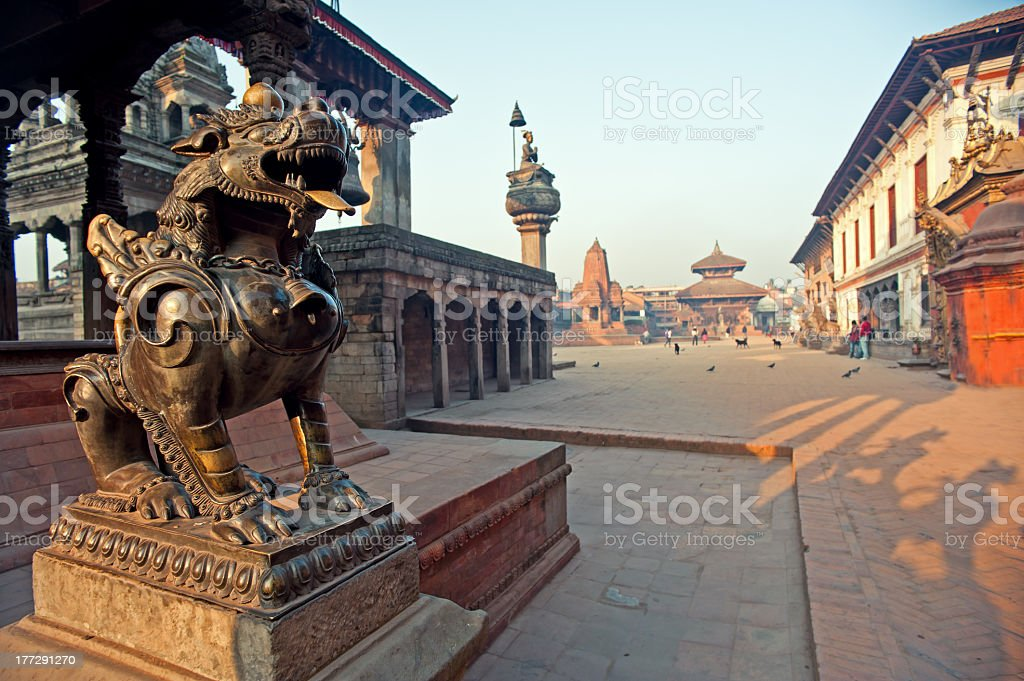 Perspective shot of Bhaktapur Dubar Square in Nepal stock photo