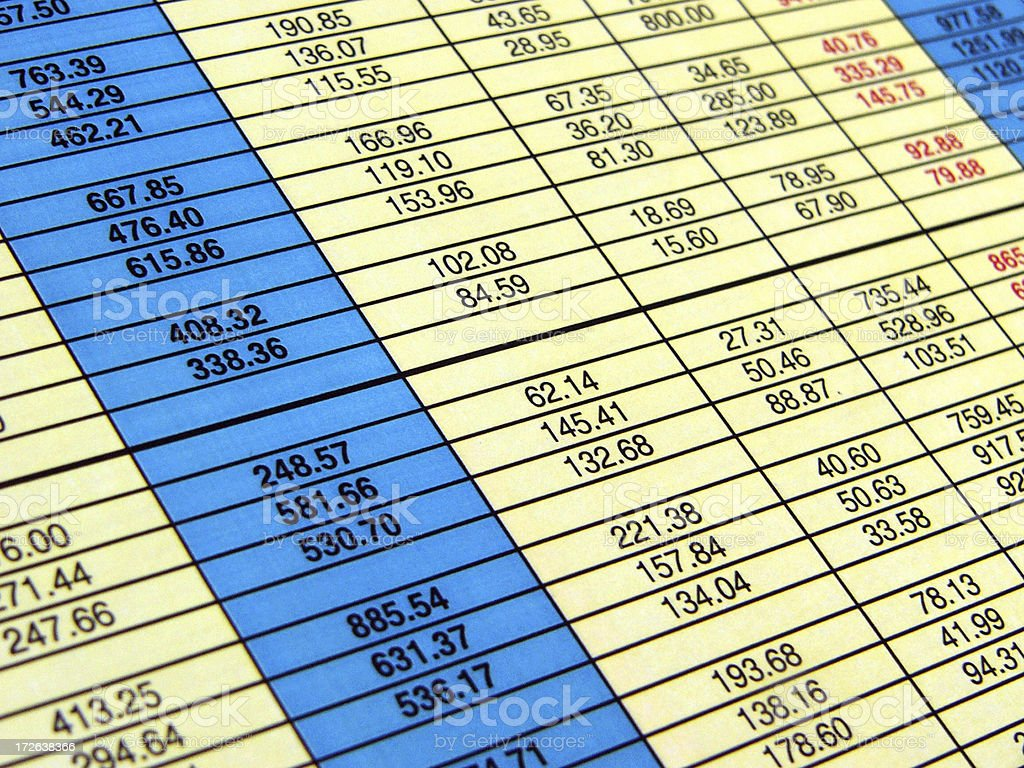 Perspective spreadsheet royalty-free stock photo