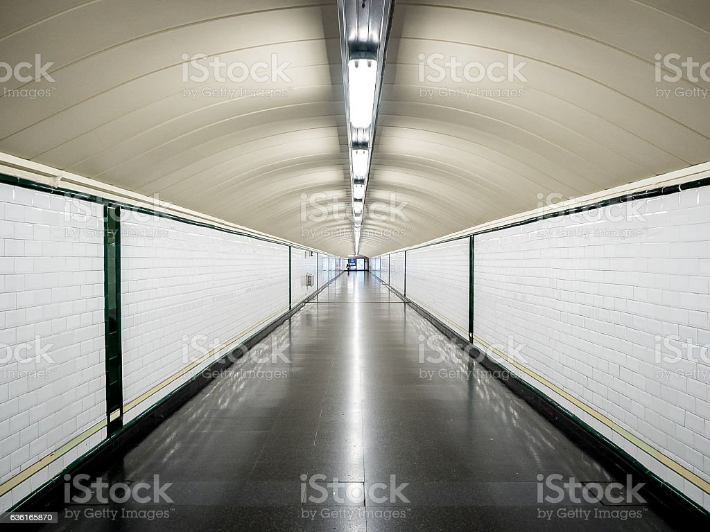 Perspective tunnel in the metro without people stock photo