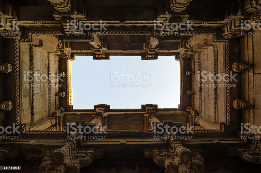 Perspective View of Adalaj Stepwell in Ahmedabad stock photo