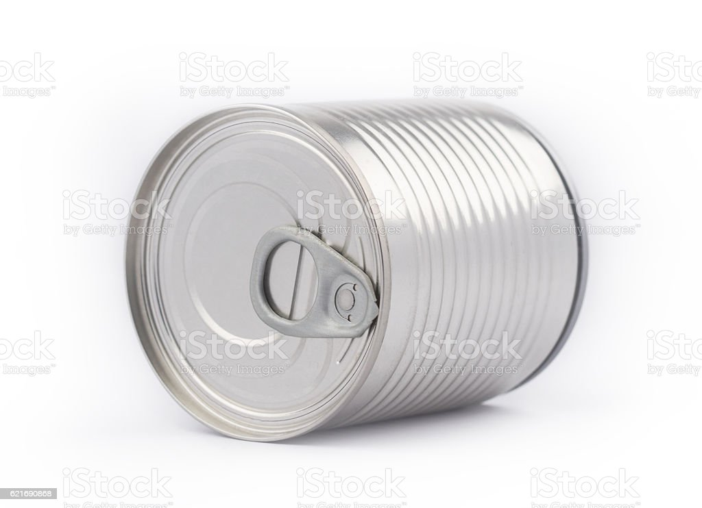 Perspective view of metal can on white background stock photo