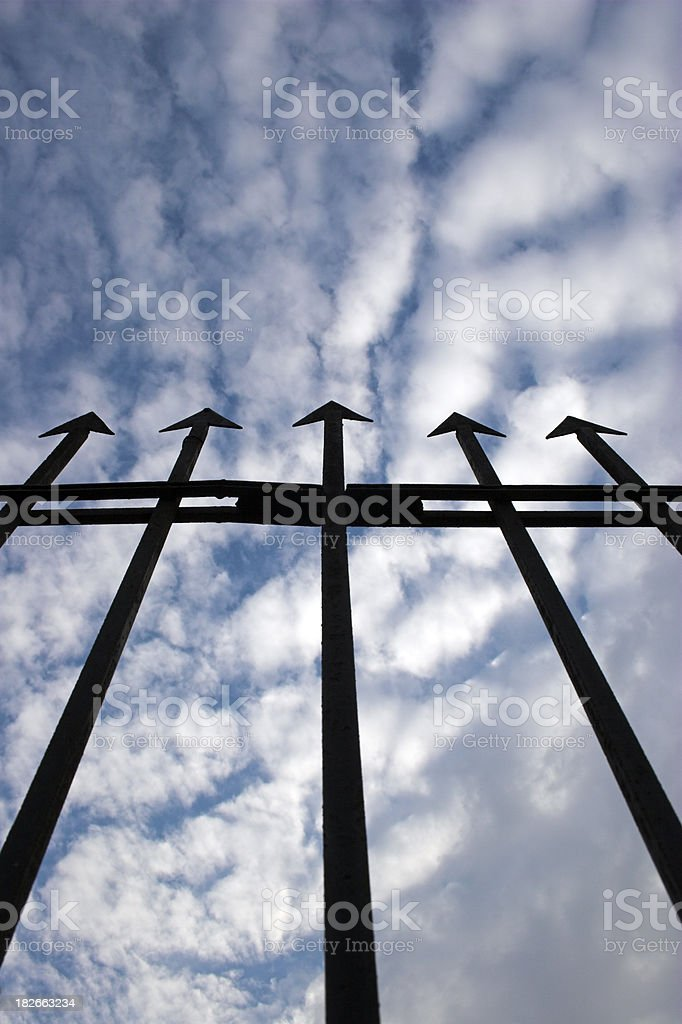 Perspective view of  railings pointing towards the sky. royalty-free stock photo