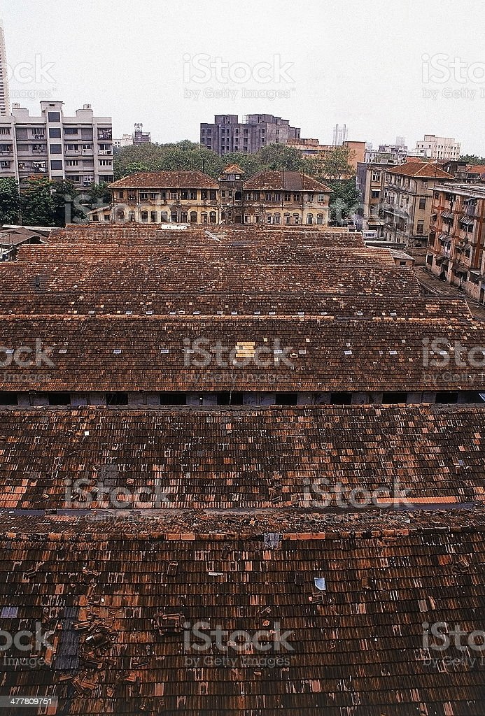 Perspective view of roofs for Chowls royalty-free stock photo