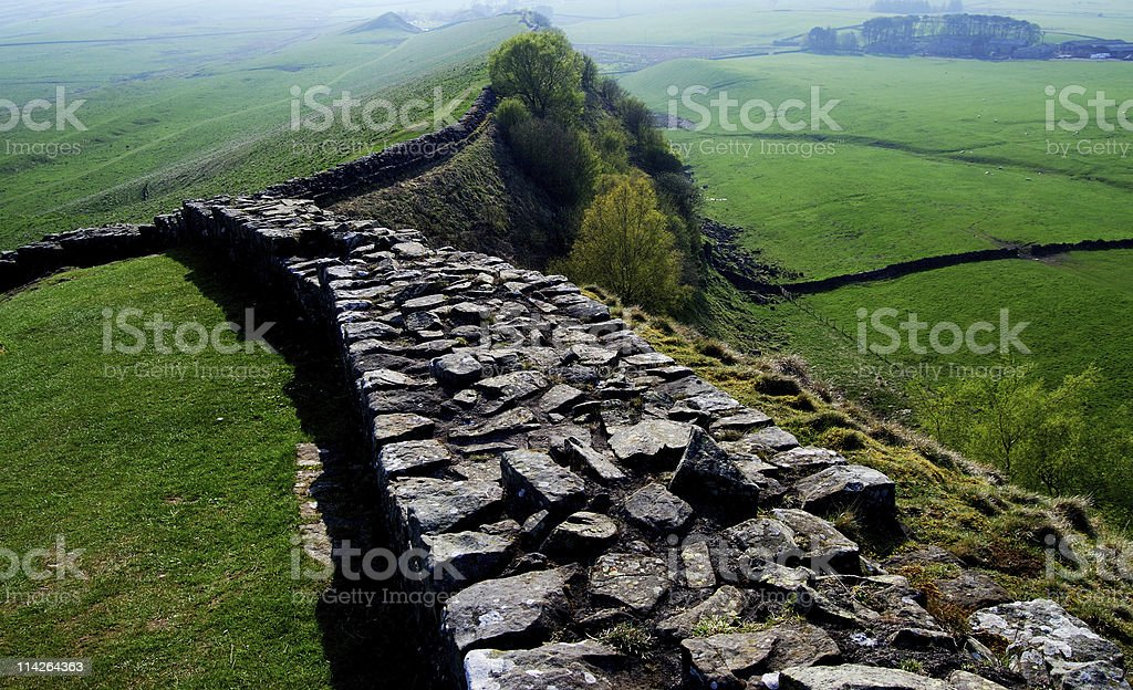 Perspective view of the hadrians wall stock photo