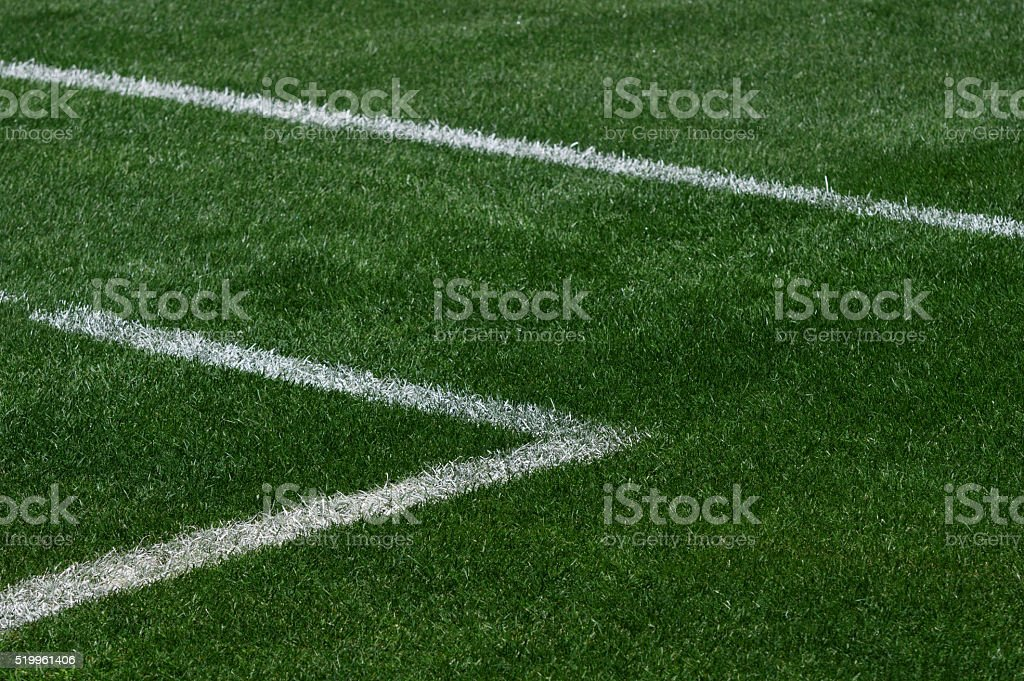 Perspective view of the lines of a soccer's field stock photo