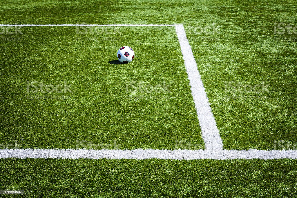 Perspective view on lines of soccer's field, soccer ball. royalty-free stock photo