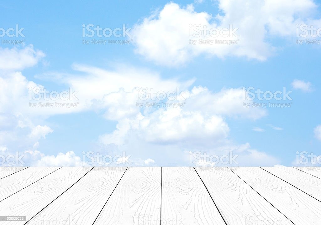Perspective white wood over blue sky stock photo