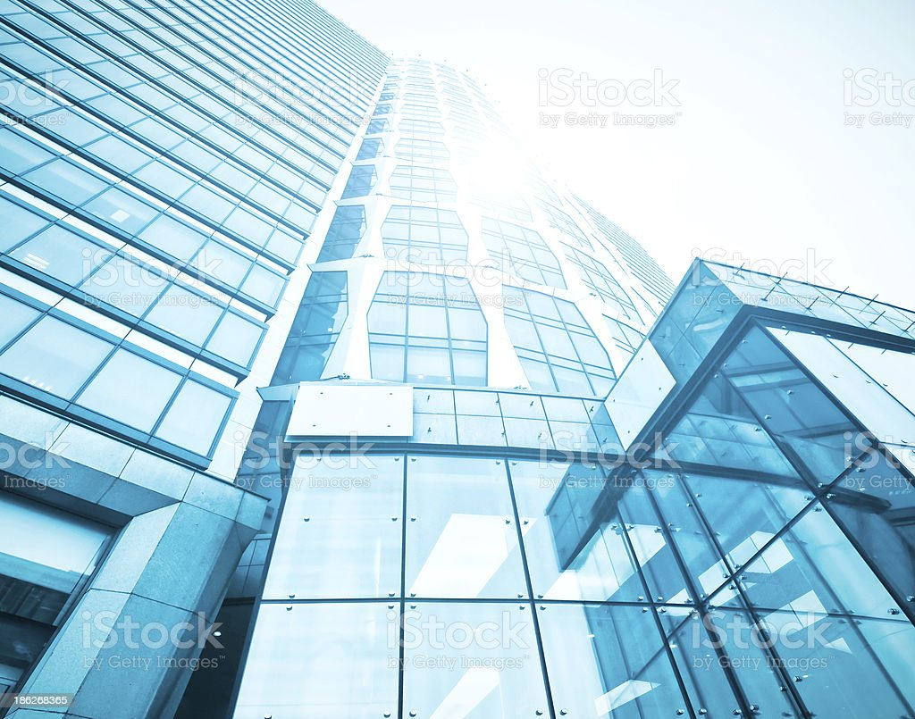 perspective wide angle view to steel blue background of glass stock photo