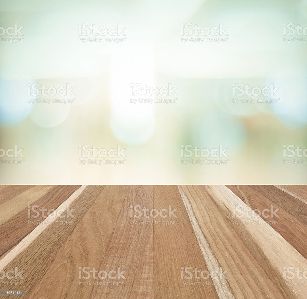 Perspective wood and blurred abstract background with bokeh stock photo