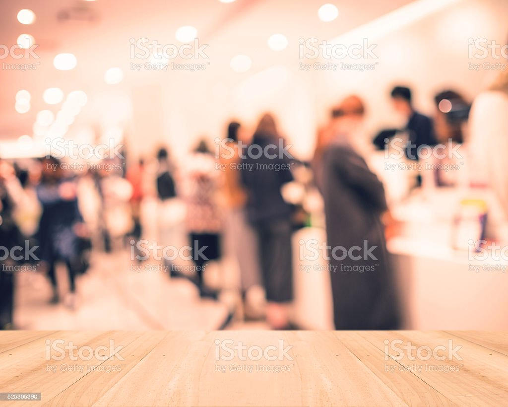 Perspective wood and blurred background - Shopping mall and cust stock photo
