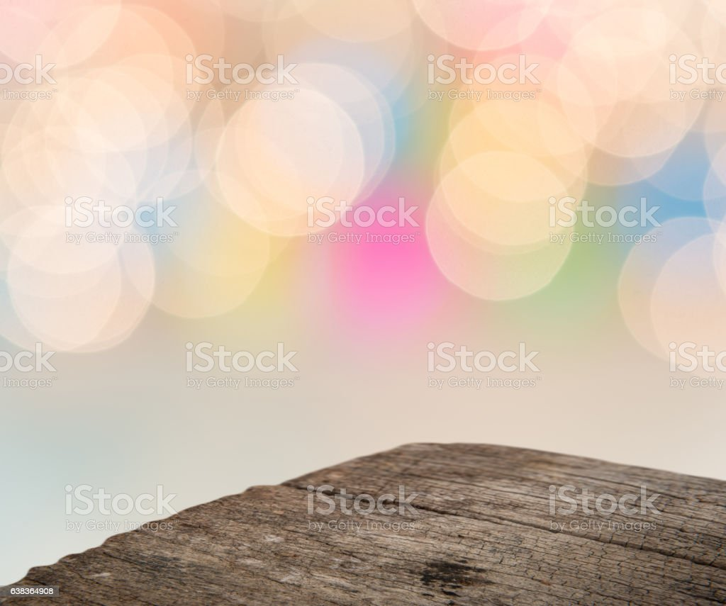 Perspective wood and colorful abstract blurred background stock photo