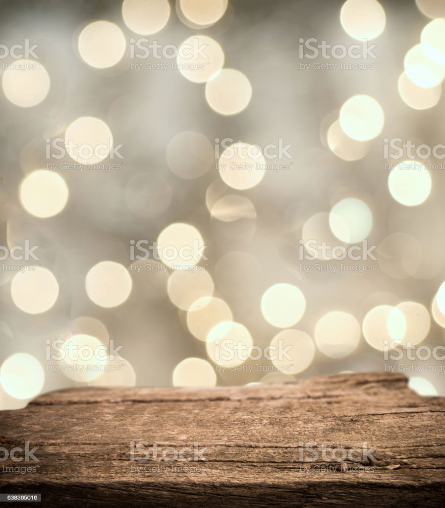Perspective wood for montage product and bokeh lights stock photo