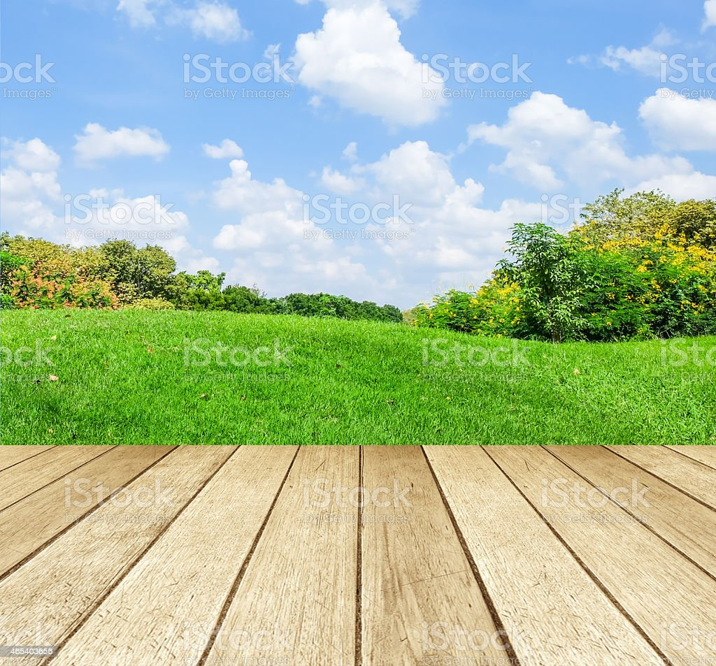 Perspective wood over blur landscape background stock photo