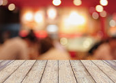Perspective wood with blurred cafe bokeh light background