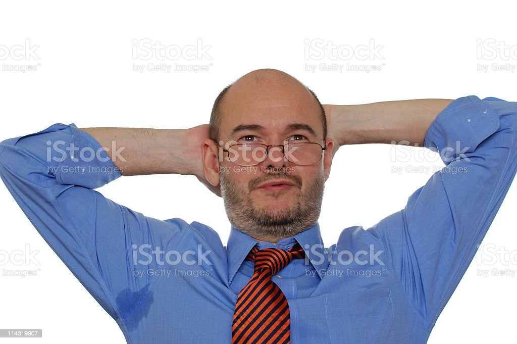Perspiring Bald Businessman with Job Satisfaction stock photo