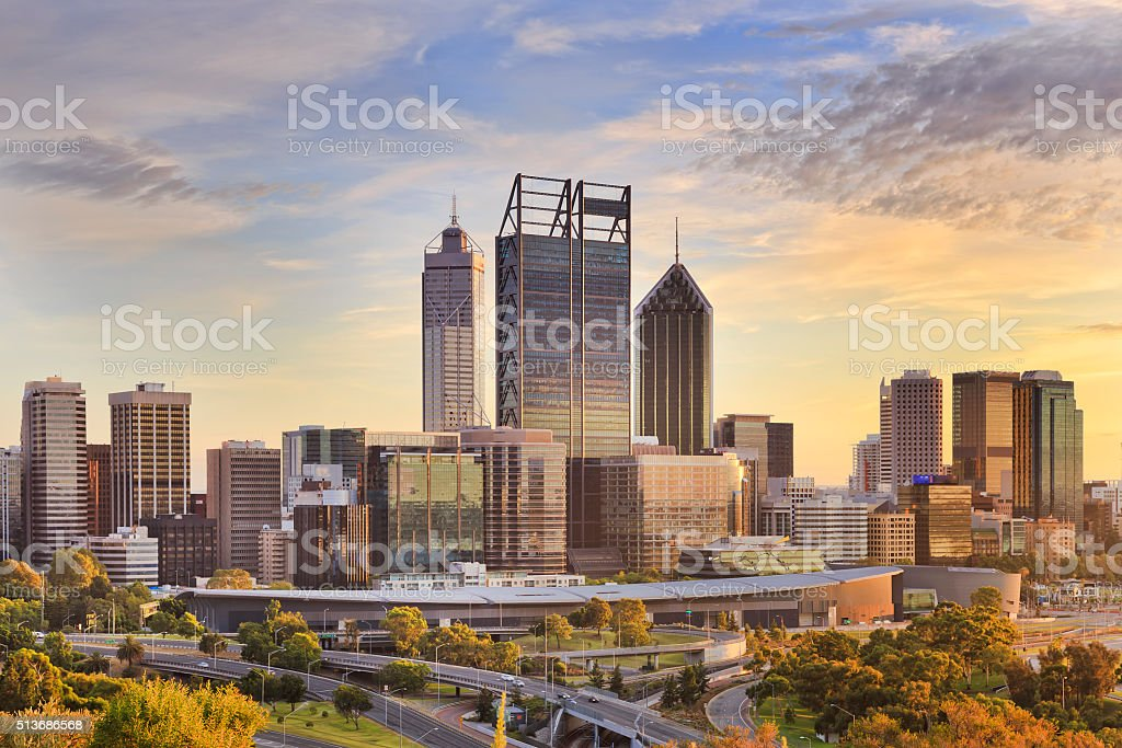 Perth CBD Gold SUn close stock photo