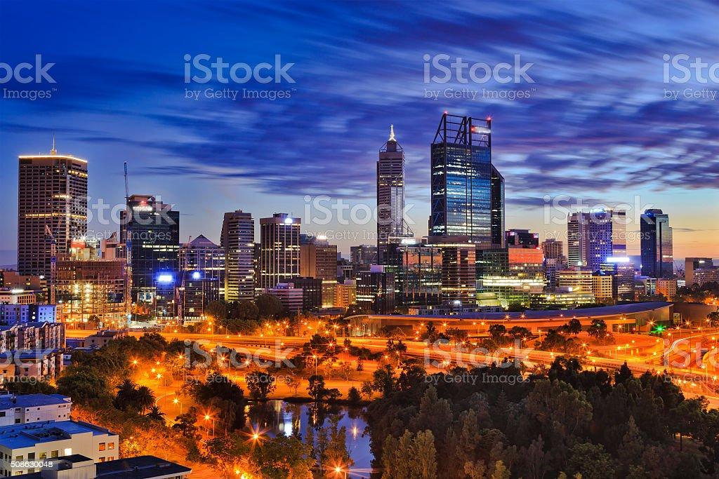 Perth CBD park sunrise stock photo