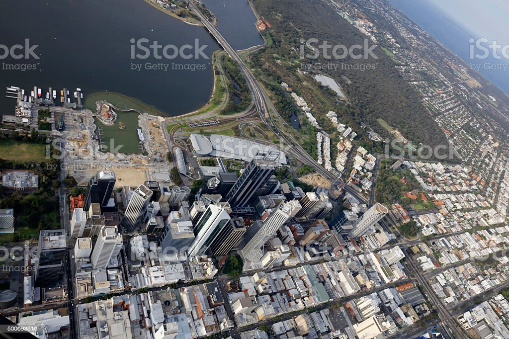 Perth City Aerial View Western Australia stock photo