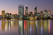 Perth city central business district at twilight in Western Australia